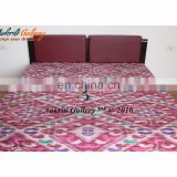 Twin Kantha Bedspread Throw Indian Maroon Color Handmade Ikat Bean Top antique Quilt