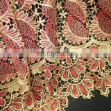 2015 red high quality guipure lace manufactures cotton guipure lace cupion lace fabric