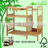 3 Tiers Bamboo Shoes Shelf with Umbrella Rack and Small Drawer