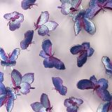 Factory direct butterfly patch embroidered mesh net lace fabric for dress