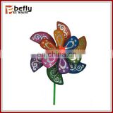 Double Layer Flower Shaped plastic garden windmills for kids