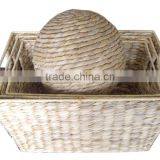 Water hyacinth basket and tray, frame iron storage basket and tray