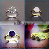 2017 Multi-color Gemstone Druzy Adjustable Rings Natural Agate Drusy 925 Sterling Silver Ring
