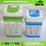 2015 elegant square blue open top dustbin plastic