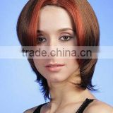 Fashion two color mix highlight red synthetic hair style full lace wigs