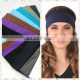 Fashion lady cotton absorb sweat yoga elastic headband popular women candy color sport hair band headband sweat wide headband