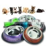 Belly Anti skid colored pet bowl/ belly dog bowl