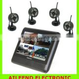7 inch TFT LCD digital wireless 300m transmitting 4CH DVR security system P2 video baby monitor