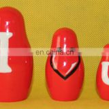 I Love You Letters Red Nesting Wooden Dolls Nesting Dolls Handmade Wooden Baby Toys Lovely Toys For Lady Set 7 pc