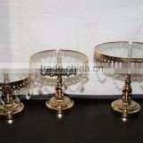 gold plated crystal hanging cake stand