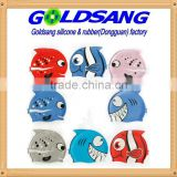 Cute Pattern children silicone swim cap cover ear