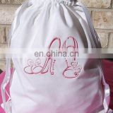 Embroidery cotton drawstring bag for promotion/packing shoes/clothes,etc