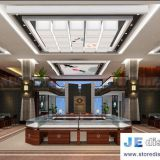 Jewellery plaza design by golden stainless steel counter and Glass Showcase