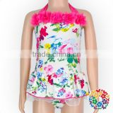 Hot Pink Floral Cotton Halter Backless Girls Swimwear Kids