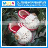 Crochet Baby Loafers ,Baby Shoes ,Baby Girl White Red Booties Mary Jane Handmade 100% Cotton Shoes
