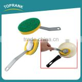 Toprank Eco Friendly Household Cleaning Tools Long Handle Cleaning Sponge Brush Pan Pot Dish Scrub Green Kitchen Scouring Pad