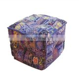 Exclusive Home Furnishing Cotton Floor Cushion Cover or Ottoman Stool Square Embroidery work Pouf India