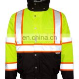 Hi visibility waterproof parka men jacket with reflective tape