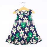 Cute Sleeveless Floral Dress - Green For Kids