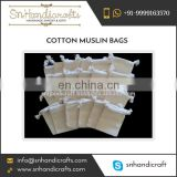"Small Cotton Muslin Bags Pouches (8"" X 10"") for Jewellery"