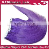 Online shopping site brazilian virgin hair silky straight purple medical tape hair extensions