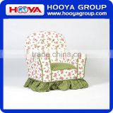 Farmhouse style kids sofa,flower +green bottom white dots cushion,W61cm* D43cm* H48cm,canvas+sponge+crude wood