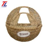 wholesale cheap grass braid stitched natural hanging gift straw basket