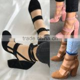 B22420A Europe hot sale stylish Suede bandage high-heeled shoes sandals