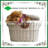 Hot sell new white empty bike basket wicker with lid