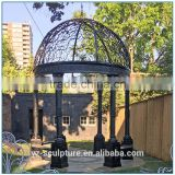 Garden large six pillar round black metal roof gazebo