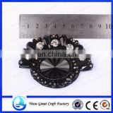 New fashion foreign trade sector shoes flower black exquisite handmade beaded crystal flower