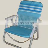 Steel folding chair with customer logo on back of the chair