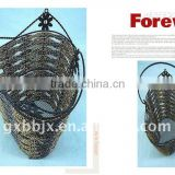 Paper rope wire heart shaped hanging storage scrap baskets