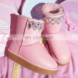 Aidocrystal Fashion Rhinestone winter shoes lovely pink ankle Flat boots for Girls