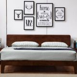 Fashion nordic design of Apartment Interior bedroom furniture Doube/single Bed used by rubber wood easy assemble