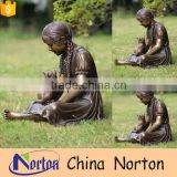 life size bronze girl reading statue for sale NTBH-S793X