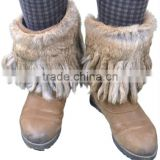 YR761 fashion real Rabbit fur leg warmers with tassel