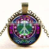 XP-TGN-LT-102 Wholesale Fashion Jewelry Charm Colorful Time Gem Life Tree Pendant Cabochon Necklace For Ladies