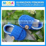 Handmade Knitted Newborn To Toddler Shoes ,Baby Boy Loafers Blue White Infant Boy Slippers Booties