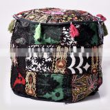 "Indian Patchwork Embroidery Design Ethnic Ottoman Pouf Cover Round Traditional Footstool Cover 22"" Inch ( Diameter)"