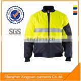 Custom High visibility 3M reflective 100% polyester bomber safety jacket