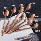 high quality stainless steel coffee spoon /mzl rose cherry flower stainless steel tea spoon /fancy dinnerware tableware