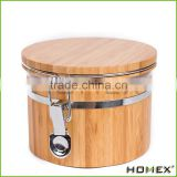 Small Bamboo Canister w Plastic Box and Silicone Seal Homex-BSCI Factory