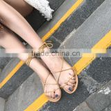 B21790A Summer new fashion bandage sandals Bohemia style Comfortable women's flat sandals