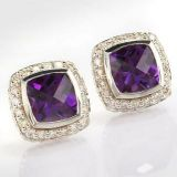 Sterling Silver 7mm Square Amethyst Petite Earrings