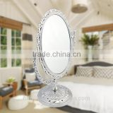 Plastic oval shape double side desk top cosmetic mirror