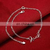New Design Letter Silver Plated Ankle Jewelry Cute Designs for Femme Women Wholesale