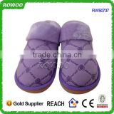 Women purple suede indoor winter slip resistant slippers