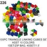 100 pcs Triangle Linking Maths Cubes Blocks toys