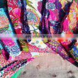"Cotton Twin Kantha work Quilt Gudri Reversible Throw 60""x90"" Ralli Fruit print Blanket handmade Bedspread Bedding India Quilts"